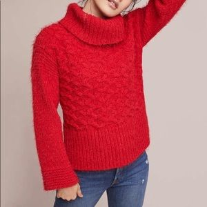 Anthropologie red eyelash chunky knit sweater